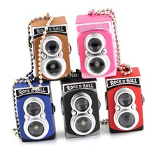 Creative Fashion Colorful Kaca Flash LED Light Dual Lens Camera Model Keychain Keyring Key Chain Ring Keyfob(China)