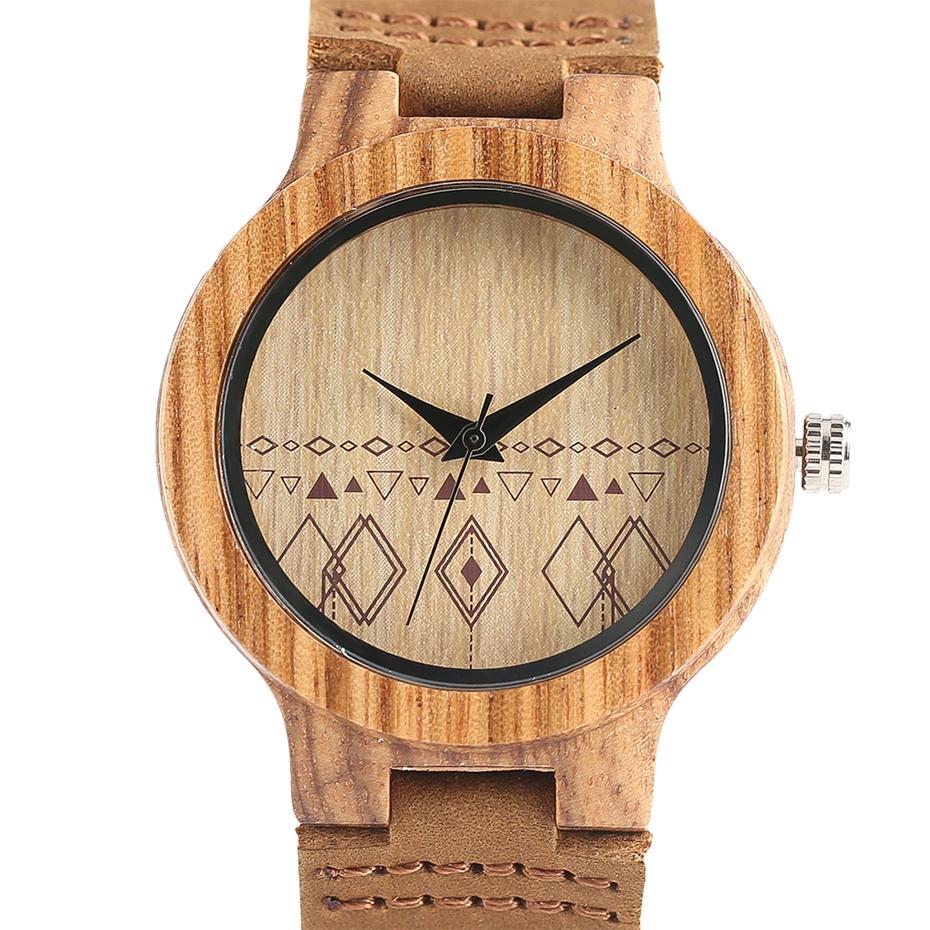 Top Gift Rhombus Dial Women Watch Creative Light Bamboo Wood Wristwatch Fashion Casual Clock Female Genuine Leather Ulzzang 2017 Christmas Gifts (4)