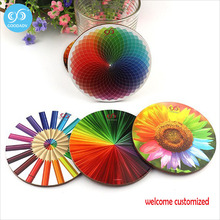 Waterproof table coaster 5 patterns for choose tea cup mat customized dazzling colors series mdf wooden cup coaster