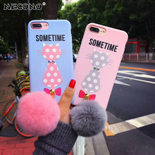 NECONO Hot Sale Winter Warm Cute Cat Figure Phone Case For iphone X 6 6s plus 7 8 plus Pink Red Plush Fur Ball Soft Back Cover(China)