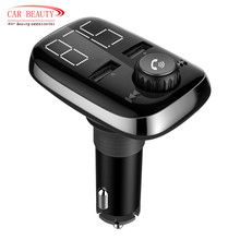 Large LED Display Car Wireless Bluetooth FM Transmitter Stereo Radio Adapter MP3 Player Car Kit with 3.4A Dual USB Car Charger(China)