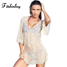 Buy Flare sleeve lace beach dress swimwear 2017 v neck hollow see summer dresses women pareos sexy hot white output for $10.62 in AliExpress store