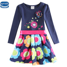 Novatx 5868 newest design girls flower frocks children clothes hot dresses baby dresses long sleeve baby clothes girls dress(China)