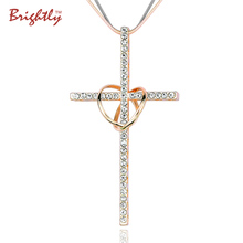Brightly Double Circles Cross Pendants Necklaces with Rhinestone Long Necklaces for Women Love Gift(China)