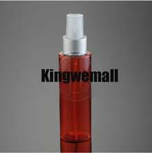 Free shipping 300pcs/lot 100ml PET Plastic empty beautiful perfume water SPRAY bottle WITH FLAT SHOULDER RED COLOR