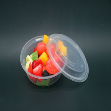 12Pcs/Lot Round Bento Box Disposable Carton 450 Ml Packaging Bowl of Western-style Lunch Box Plastic Snack  with Lidded