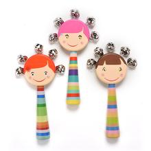 1Pcs Lovely Cartoon Kawaii Colorful Wooden Rattles for 0-12 Months Babies Toys Random send Wholesale(China)