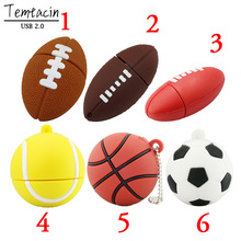 PenDrive USB Flash USB Flash Drive 64GB 32G16g 8G 4G Flash Drive Football Rugby Basketball Model Pen Drive USB2.0 Flash Card Fre