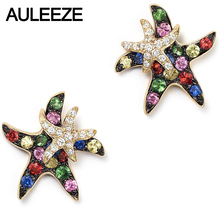 Natural Multi Sapphire Real Diamond Starfish Lovely Earrings in 9K Yellow Gold Stud Earrings For Lady Gemstone Fine Jewelry