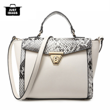 2017 new  just i bags Fashion Vintage PU leather women handbags   designer ladies shoulder  Snake lock trapeze tote bags