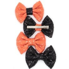 12pcs/lot 4'' Sequins Bow Clips, Halloween Festival Hair Bow Clips for Headband Black/Orange DIY Hair Accessory, Hair Clip