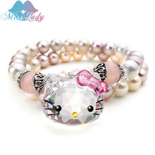 Austrian Crystal Cute Lovely Cat Hello Kitty Bracelets Bangles Fashion Jewelry for women Q2017224