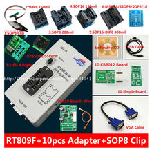 free shipping 100% origanil Newest RT809F LCD ISP programmer+ 10 adapters +sop8 IC test clip + 1.8V Adapter+TSSOP8/SSOP8 Adapter(China)