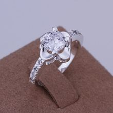 2014 Hot sell Chrismas gift Wholesale silver plated ring fashion jewelry,Inlaid Stone Sunflower ring SMTR147