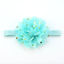 Retail 1 piece only Elastic Ribbon Headband with 10.0cm Gold Polka Dot Chiffon Flower Sustainable Girl Headwear Resourse FD229