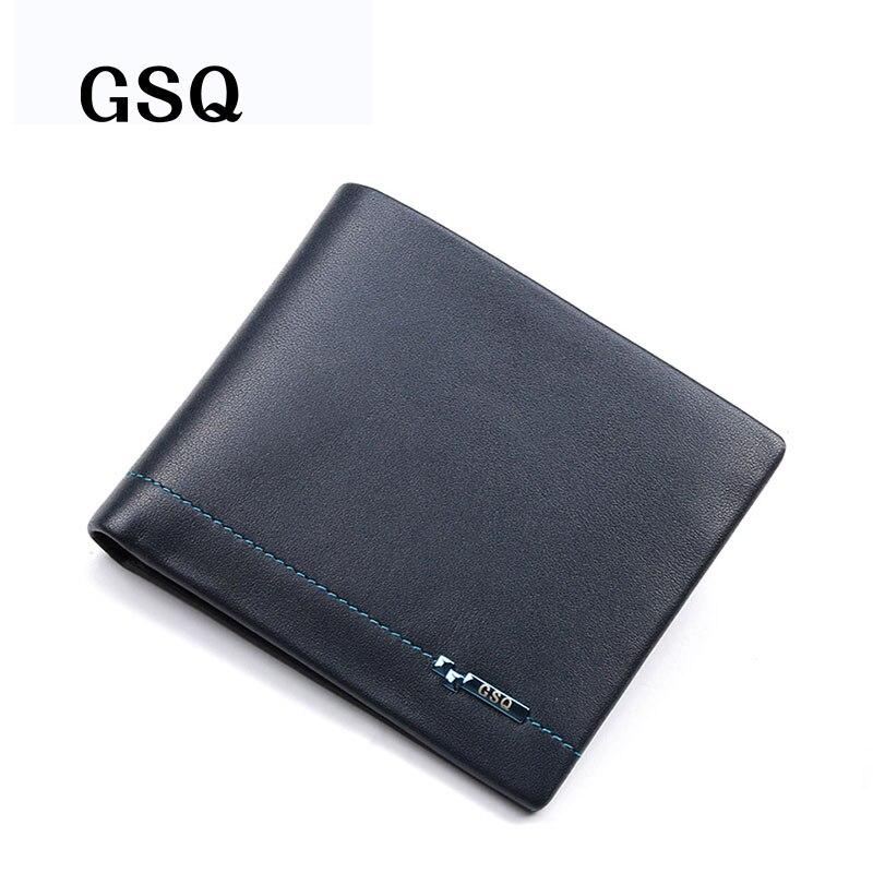 GSQ High Quality Soft Genuine Leather Men Short Wallet 2017 Promotion Fashion Famous Designer Money Clip Top Cowhide Purse Q255<br><br>Aliexpress
