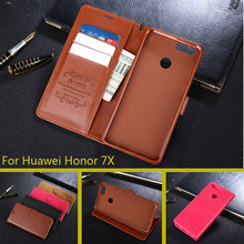For Huawei Honor 7X PU Leather Case For Huawei Honor 7X Filp Wallet Cover Silicone Fundas Card Slot Stand Phone Cases(China)