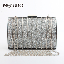 Bling Flash Women Metal Hollow Out Evening Clutch Bags Cross Net Diamond Chain Hand Bag Bridal Wedding Party Wallet(China)