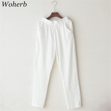 Woherb 2017 Women Straight Pants Vintage Fashion Solid Cotton Linen Trousers Casual Loose Elastic Waist Autumn Pant 73360