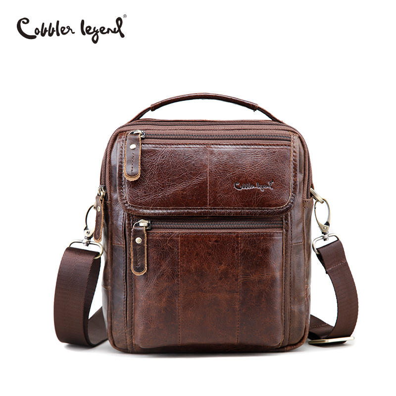 Cobbler Legend Genuine Leather Mens Bags Small Flap Casual Messenger Bag Male Crossbody Bags Mens Shoulder Bag Business Handbag<br>