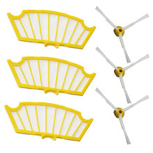 Side Brush 3 Armed +filter kit Replacement For iRobot Roomba 500 Series 530 555 560 580 581 Robotic Vacuum Cleaner Parts 6 Pcs