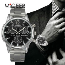 MIGEER Luxury Brand Men Quartz Casual Watch Army Military Sports Watch Men Watches Male Crystal Stainless Steel Clock #Gofuly418
