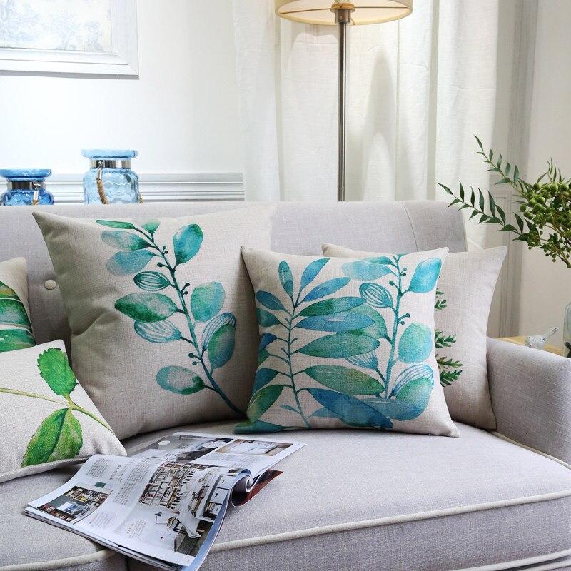 Fern and Geranium Cushion Cover Botanical Printed Fabric Green Grey Cotton Linen