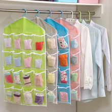 2016 hot sale family used visual 16 pockets storage bag underwear large capacity organizer bags good quality candy color bags(China)