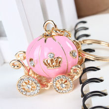 Lovely Pink Pumpkin Carriage Crystal Pendant Charm Purse Handbag Car Key Keyring Keychain Party Wedding Birthday Creative Gift