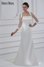 Buy 2017 Mermaid Stain Wedding Dresses Jacket Strapless Neckline Zipper Sweep Train Floor Length Bridal Gowns for $159.99 in AliExpress store