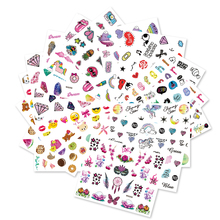 Full Beauty 20PCS New Unicorn Diamond Emoji Nail Sticker Colorful Children DIY Pattern Water Transfer Decals Sets CHWG246-265(China)
