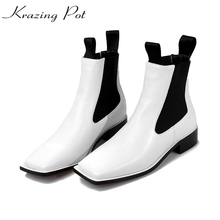 2018 Krazing Pot new pu leather slip on fashion winter brand nude shoes big size square toe med heels superstar ankle boots L26