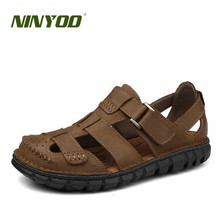 NINYOO High-end Classic Mens Sandals Encase Toe Genuine Leather Sandals Wearproof Rubber Handmade Summer Outdoor Beach Sandals44(China)