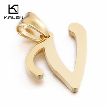 Kalen Cheap 26 Capital Letter Necklace Stainless Steel Victoria Gold Letter V Pendant With Free Chain Women Men Necklace Jewelry