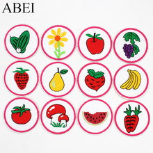 12pcs/set Mix Cartoon Fruits Vegetable Stickers Iron on Embroidered kids Jean Coat Sweater Patches DIY Sewing Appliqued Supplier
