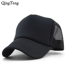 Truck Cap Lot Color Blank Baseball Cap Breathable Nylon Mesh Summer Women Snapback Hats Adjustable Outdoor Net Cap Wholesale(China)