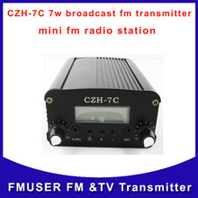 CZH-7C 7w broadcast fm audio radio transmitter silver  black fm radio station for meeting