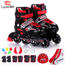 Children men and women adjustable skates PU perfusion flash wheel roller skates shoes