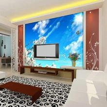 Custom 3d photo wallpaper 3d wall murals wallpaper TV wall/setting wall/porch decoration rural wind butterfly flower living room(China)