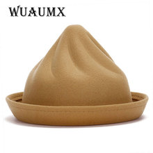 [wuAumx] Fashion Autumn Winter Cute fedora hats for Women ladies felt hat for girls The shape of ice cream female's hat caps(China)