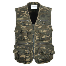 Loose Cotton Sleeveless Mens Pocket Reporter Camouflage Vest