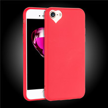 Ultrathin Candy colors cover Dust plug For iphone 7 7Plus 8 8Plus Cute heart shape Camera hole design Soft TPU phone cases