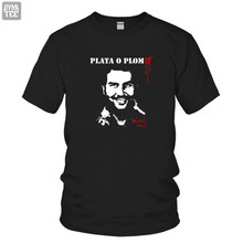 Customized American drama NACOS PLATA O PLOM PABLO ESCOBAR Short Sleeve t Shirt Women Men Cotton tee tops brand clothing