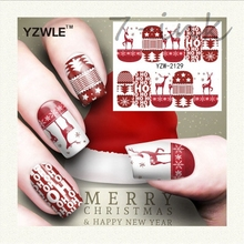 Water Transfer stickers for nail art red merry Christmas deer tree Design Fingernails Decals Manicure stickers(China)