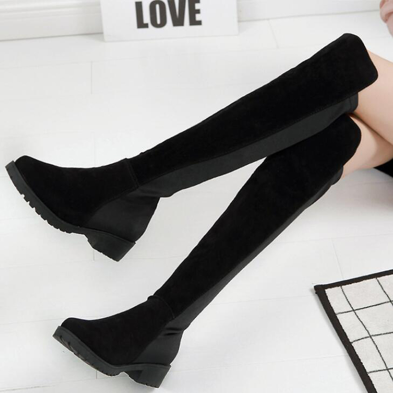 2017 fashion women boots nubuck leather knee high shoes woman 2 style for Autumn and Winter snow boots low square heel botas<br><br>Aliexpress