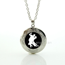 Vintage couple lovers Dancing silhouette Plated Silver pendant locket necklace ballroom dancing dance Sports Gift Ideas DC083
