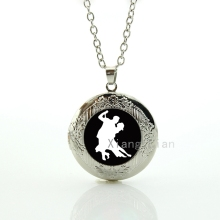 Vintage couple lovers Dancing silhouette Plated Silver pendant locket necklace ballroom dancing dance Sports Gift Ideas DC083(China)