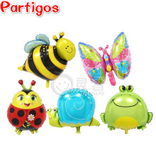 5pcs Mini Bee & Butterfly & Frog & Snails & Ladybug Helium Foil Balloons Animal theme party suppies baby toys gifts animals head