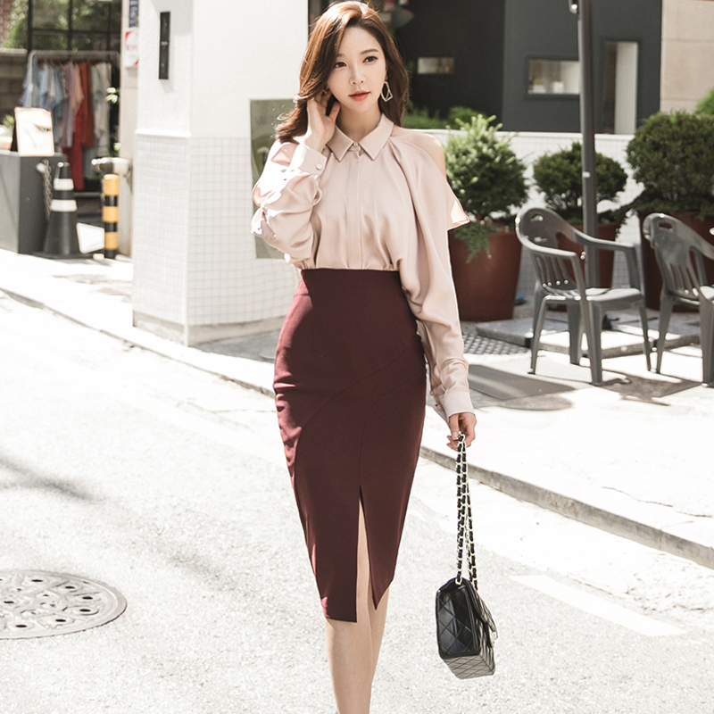 2018 Fashion Autumn Women Skirt Suits Sexy Off Shoulder Long Sleeve Work Blouse + Office Split Bodycon Pencil Suits 2 Piece Set