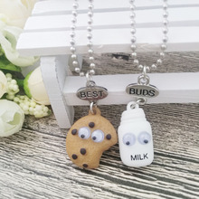 2pcs/set BEST BUDS Miniature Cookies Biscuit Milk Pendant Necklaces BFF Friendship Creative Jewelry Christmas Gift